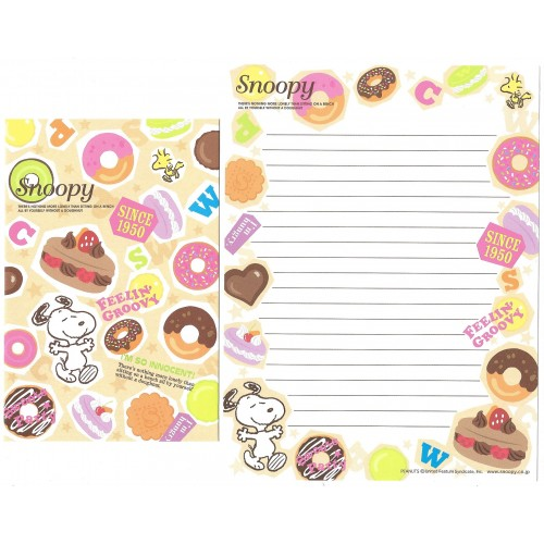 Kit 2 Conjuntos de Papel de Carta Snoopy Doughnut Peanuts