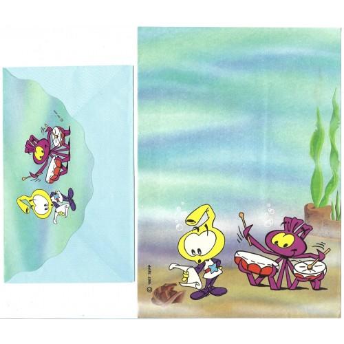 Ano 1987. Conjunto de Papel de Carta Antigo Os Snorkels 02 SEPP