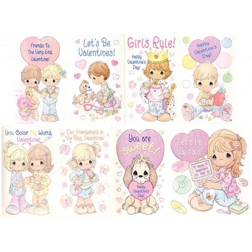 Kit 8 Mini-Cartões de Mensagem Valentines Antigo Importado Precious Moments