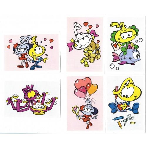 Kit 6 Mini-Cartões de Mensagem Valentines Antigo Importado Snorks