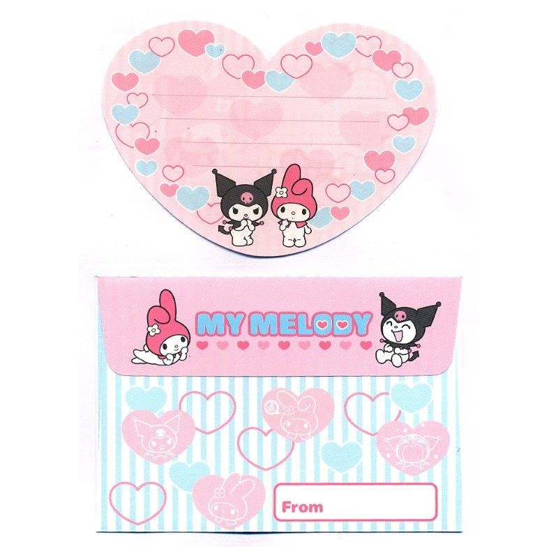 Ano 2005. Conjunto de Mini-Papel de Carta Kuromi Nanishite CRS Sanrio
