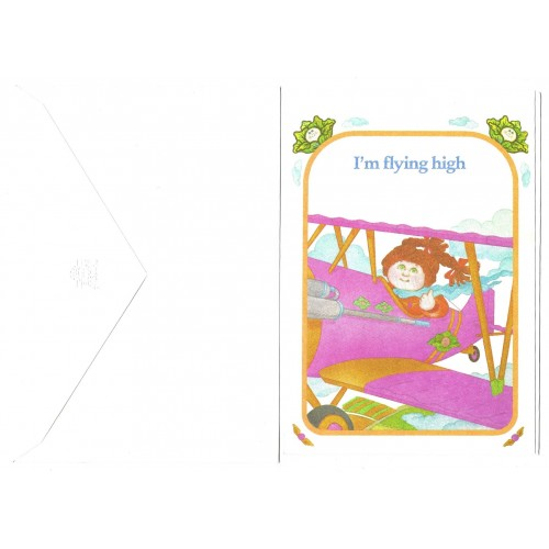 "Ano 1983. Notecard Importado Cabbage Patch Kids I""m Flying High"