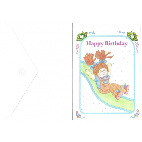 Ano 1983. Notecard Importado Cabbage Patch Kids Happy Birthday