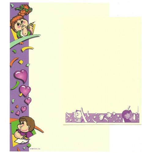Ano 1994. Conjunto de Papel de Carta Importado Cabbage Patch Kids