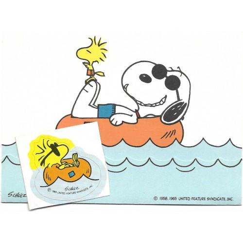 Postalete ANTIGO COM SELINHO PARA COLAR Snoopy Boat