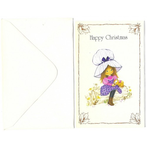 Notecard Antigo Importado Miss Petticoat Happy Christmas