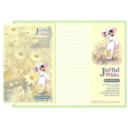 Conjunto de Papel de Carta Importado Joyful White Orange Story