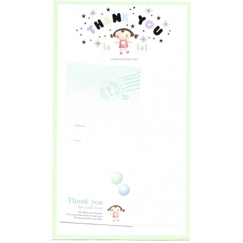 Conjunto de Papel de Carta Importado Thank You Angel Orange Story