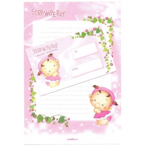 Conjunto de Papel de Carta Importado Strawberry Twín Art