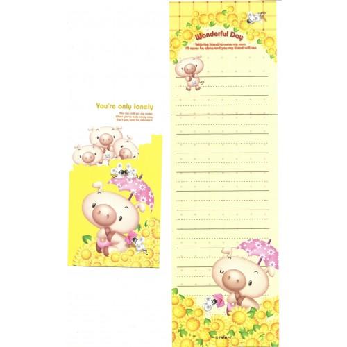 Conjunto de Papel de Carta Importado Pig Wonderful Day Twín Art