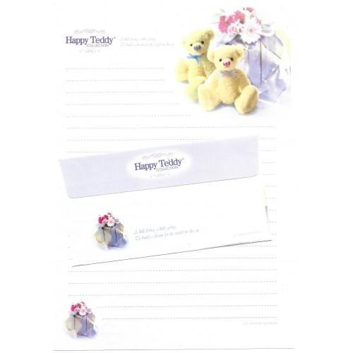 Conjunto de Papel de Carta Importado Happy Teddy CBR3 Ido