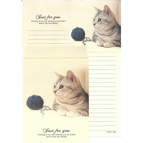 Conjunto de Papel de Carta Importado Happy Time Cat 4
