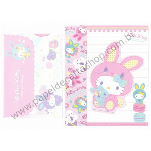 Ano 2010. Conjunto de Papel de Carta HK Colorful Bunny1 CRS Sanrio