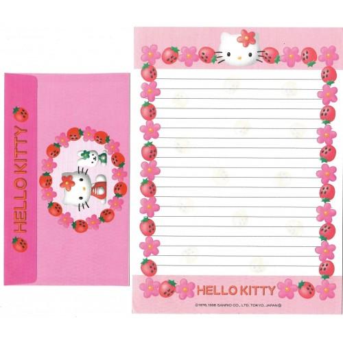 Ano 1998. Conjunto de Papel de Carta Kitty Strawberry Vintage Sanrio
