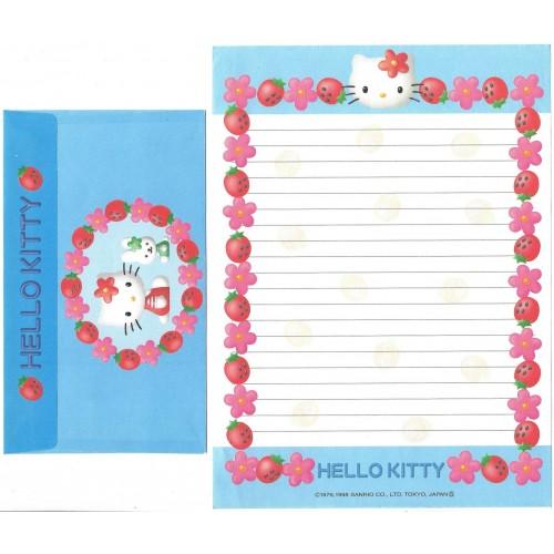 Ano 1998. Conjunto de Papel de Carta Kitty Strawberrybl Vintage Sanrio