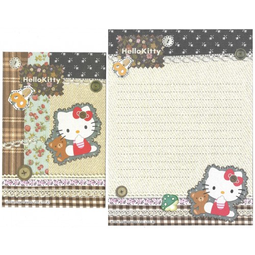 Ano 2008. Conjunto de Papel de Carta Hello Kitty Button CAZ Sanrio