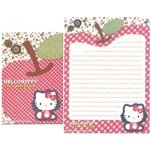 Ano 2008. Conjunto de Papel de Carta Hello Kitty Button CAP Sanrio