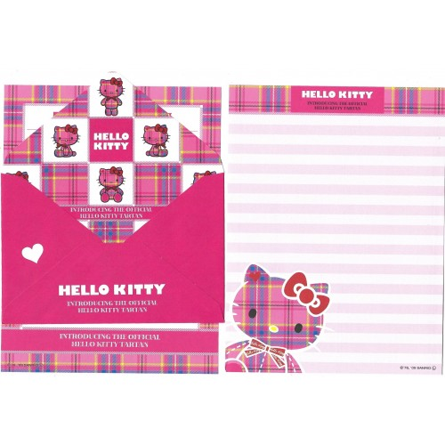 Ano 2009. Conjunto de Papel de Carta Hello Kitty Tartan 35th C2 Sanrio