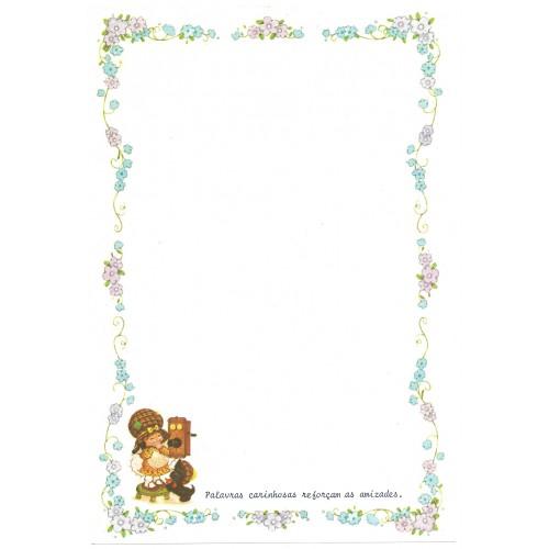 Papel de Carta Antigo Bonnie Bonnets CAZ3 COM FRASE