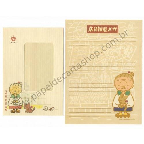 Ano 1988. Conjunto de Papel de Carta Umeya Zakkaten Vintage Sanrio