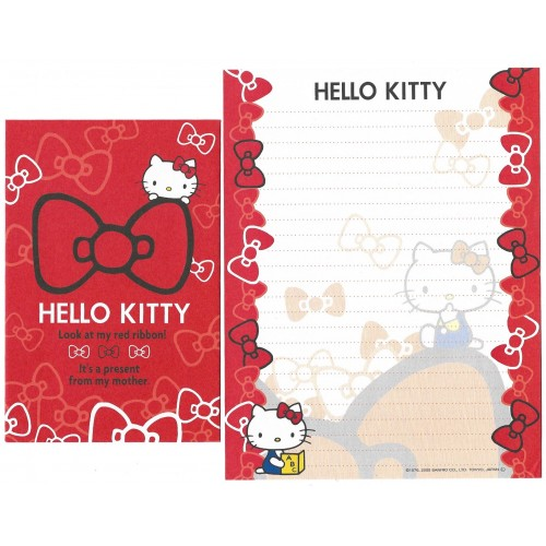Ano 2009. Conjunto de Papel de Carta Hello Kitty Red Ribbon 2 Sanrio