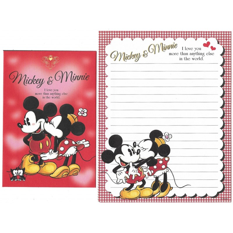 Conjunto de Papel de Carta Disney Mickey & Minnie I Love You
