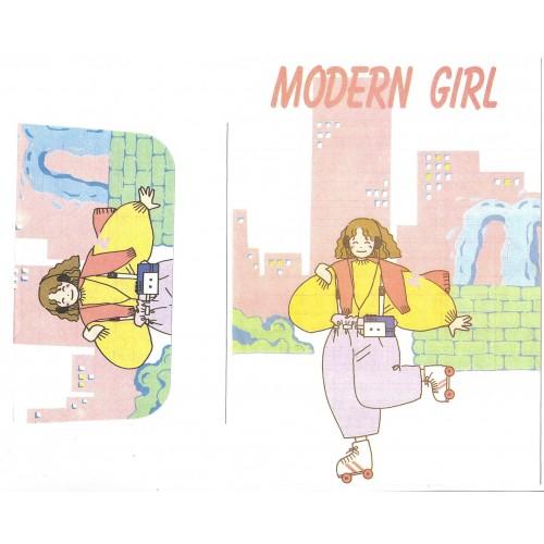 Conjunto de Papel de Carta Antigo Modern Girl