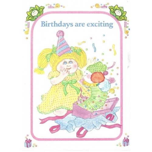 Ano 1983. Notecard Importado Cabbage Patch Kids Birthdays are Exciting