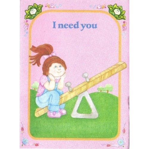 Ano 1983. Notecard Importado Cabbage Patch Kids I Need You