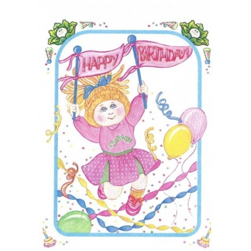Ano 1983. Notecard Importado Cabbage Patch Kids Happy Bday