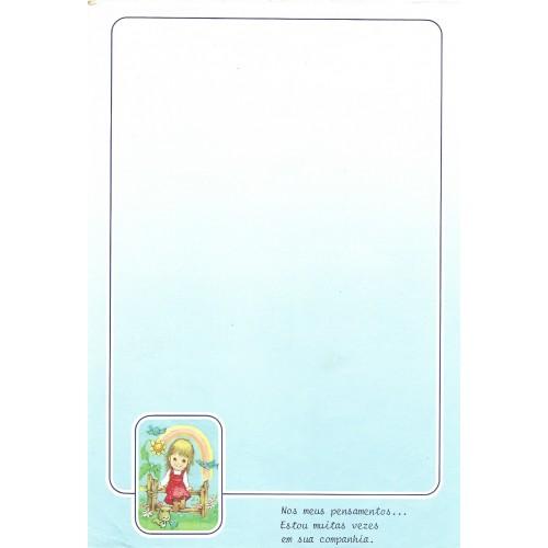 Papel de Carta Antigo AZUL 3 COM FRASE