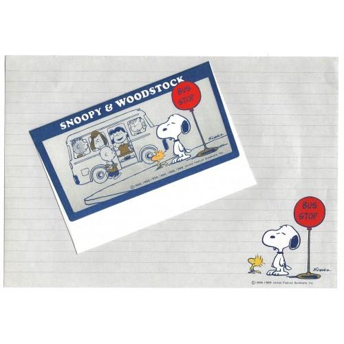 Conjunto de Papel de Carta Snoopy Vintage BUS STOP Japan