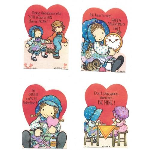 Kit 4 Mini-Cartões Valentines Antigo Importado Holly Hobbie AG