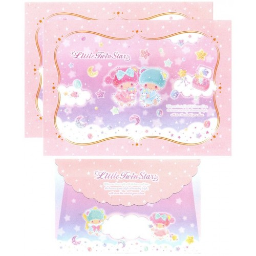 Ano 2017. Conjunto de Papel de Carta Little Twin Stars Gems Sanrio