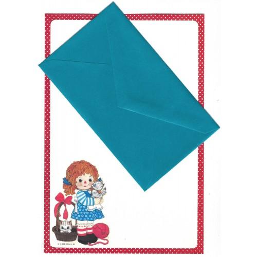 Conjunto de Papel de Carta Importado B Raggedy Ann The Bobbs-Merrill Co