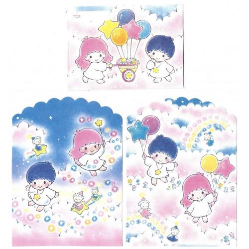 Ano 1993. Conjunto de MINI Papéis de Carta Little Twin Stars Vintage Sanrio