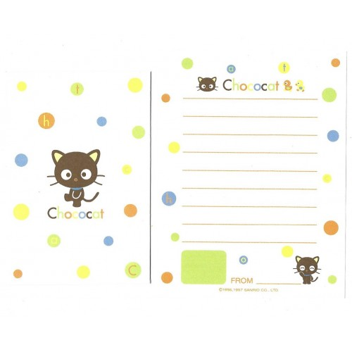 Ano 1997. Conjunto de Mini-Papel de Carta Chococat Green Sanrio