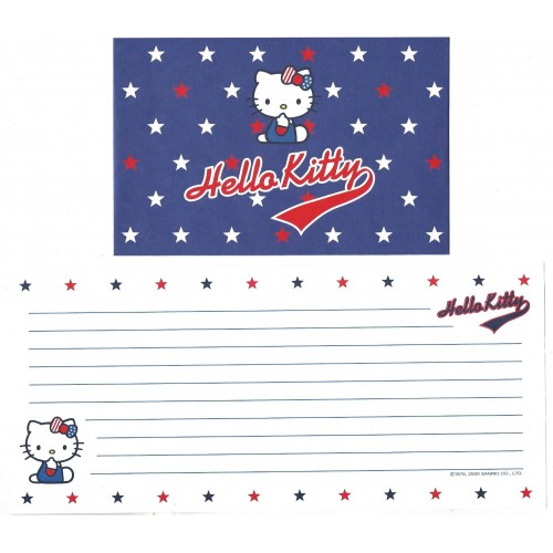 Ano 2000. Conjunto de Papel de Carta Hello Kitty Star Sanrio