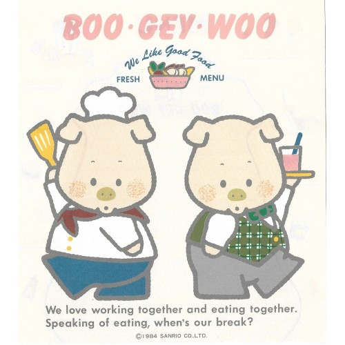 Ano 1984. Papel de Carta AVULSO BOO GEY WOO Lunch Drinks CRS Vintage Sanrio