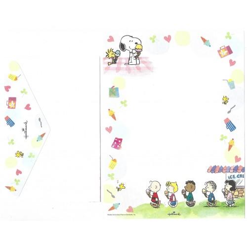 Conjunto de Papel de Carta Snoopy Antigo (Vintage) Ice Cream Hallmark