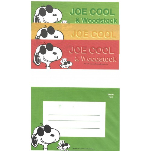 Conjunto de Papel de Carta Snoopy Joe Cool & Woodstock Peanuts
