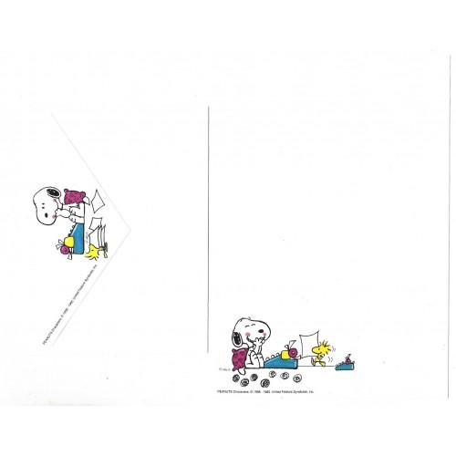 Conjunto de Papel de Carta Snoopy Typing Vintage Hallmark