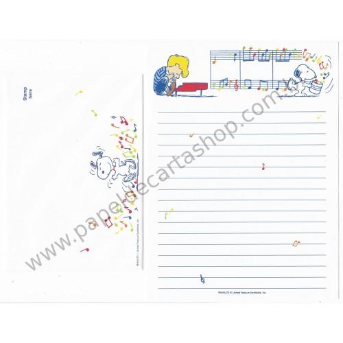Conjunto de Papel de Carta Snoopy & Schoreder Nihon Hallmark