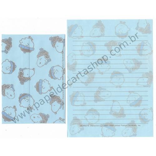 Conjunto de Papel de Carta Snoopy & Charlie Peanuts Nihon Hallmark