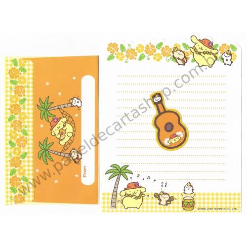 Ano 2001. Conjunto de Papel de Carta PomPomPurin Hawaii Antigo (Vintage) Sanrio