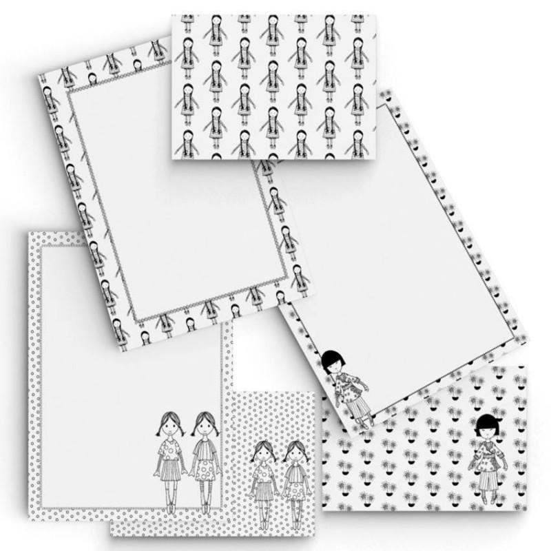 Kit de Papéis de Carta ARTESANAIS PARA COLORIR - BONECAS I