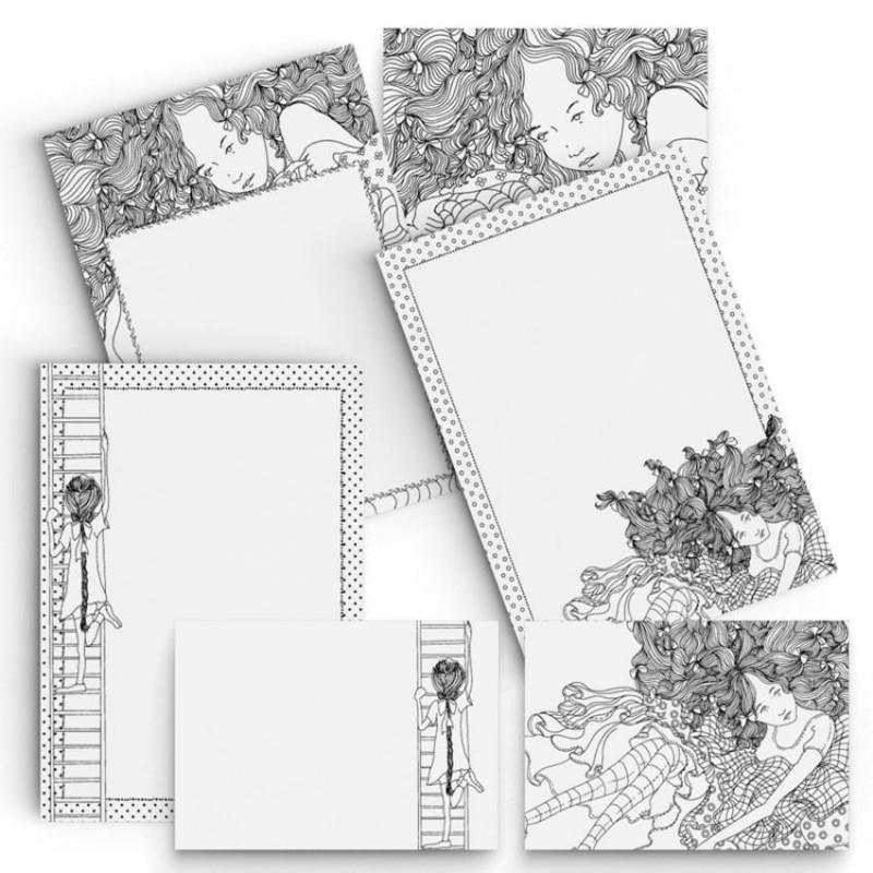 Kit de Papéis de Carta ARTESANAIS PARA COLORIR - BONECAS II