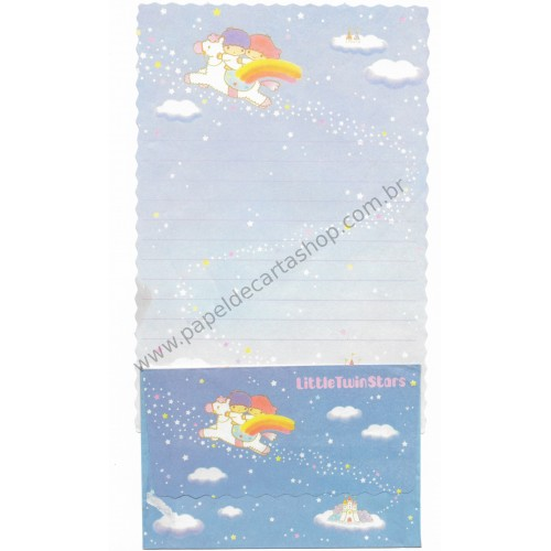 Conjunto de Papel de Carta Antigo Little Twin Stars (Azul)