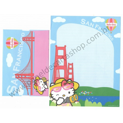 Ano 2003. Conjunto de Papel de Carta Hello Kitty San Francisco CAZ Sanrio