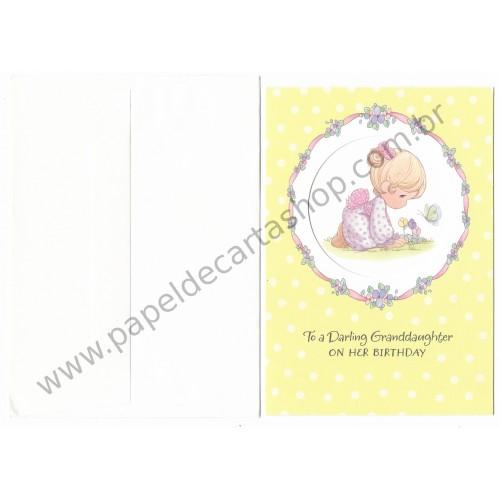 Ano 2004. Cartão Importado Precious Moments GRANDAUGHTER